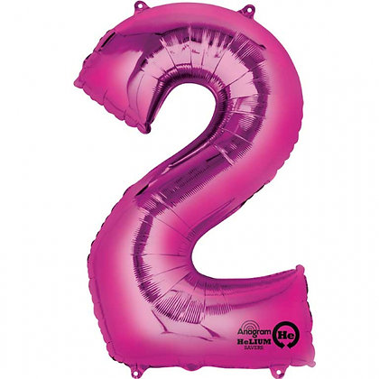 """Pink Number 2 Foil Balloon 34"""" (Deflated)"""