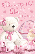 3D Birth of Baby Girl Card