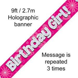 Birthday Girl Pink Holographic Banner
