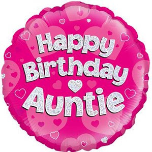 """18"""" Pink Holographic Auntie Foil Balloon"""