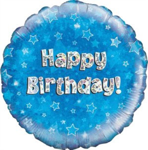 """18"""" Blue Holographic Happy Birthday Foil Balloon"""