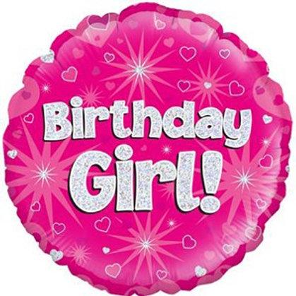 "18"" Pink Holographic Birthday Girl Foil Balloon (Deflated)"