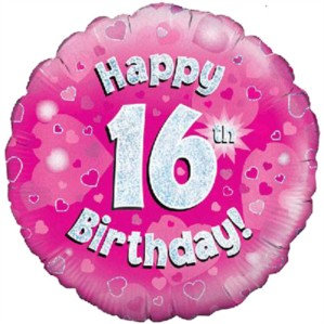 """18"""" Pink Holographic 16th Birthday Foil Balloon (Deflated)"""