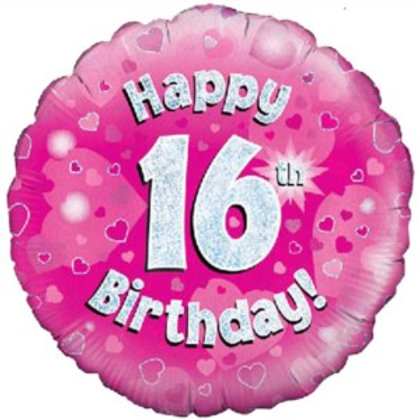 """18"""" Pink Holographic 16th Birthday Foil Balloon"""