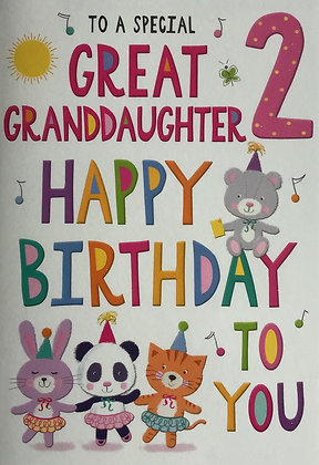 Gt Granddaughter's 2nd Birthday Card