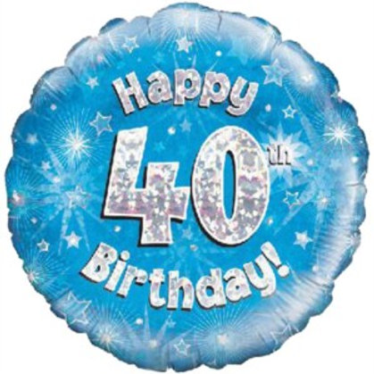 """18"""" Blue Holographic 40th Birthday Foil Balloon"""