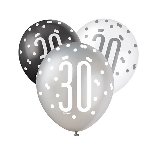 Black, Silver & White Glitz 30th Birthday Latex Balloons 6pk