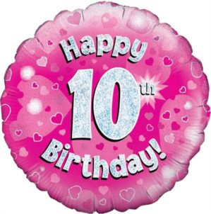 """18"""" Pink Holographic 10th Birthday Foil Balloon (Deflated)"""
