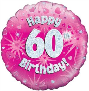 """18"""" Pink Holographic 60th Birthday Foil Balloon"""