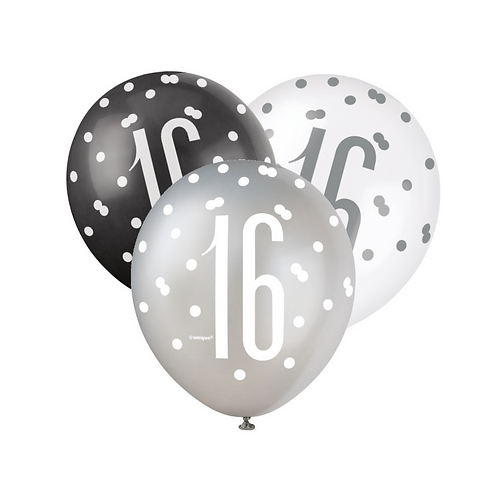 Black, Silver & White Glitz 16th Birthday Latex Balloons 6pk