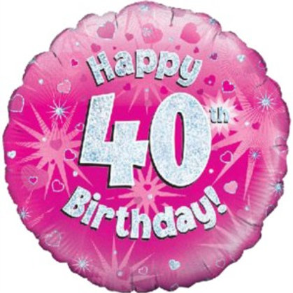"""18"""" Pink Holographic 40th Birthday Foil Balloon"""