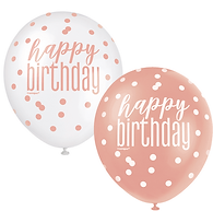 Rose Gold Glitz and White Happy Birthday latex balloons