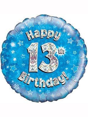 "18"" Blue Holographic 13th Birthday Foil Balloon (Deflated)"