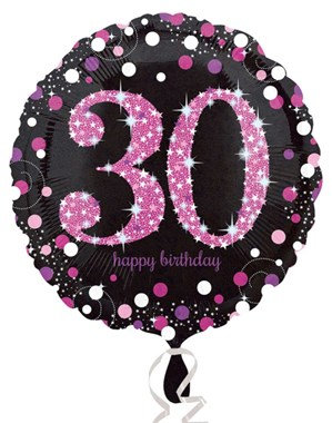 """30th Birthday Black and Pink Celebration 18"""" Foil Balloon"""
