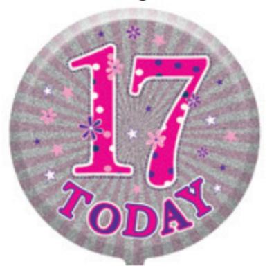 "17th Birthday Female 18"" Foil Balloon"