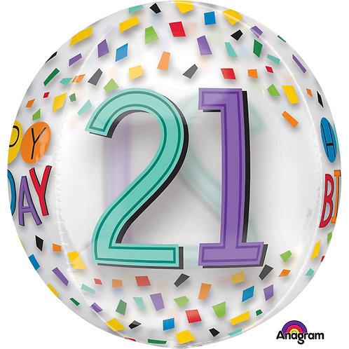 """21st Birthday Rainbow Clear Orbz 16"""" Foil Balloon"""
