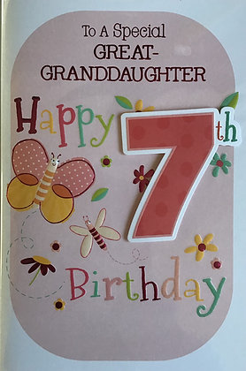 Great Granddaughter's 7th Birthday Card