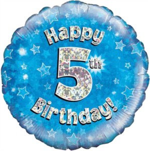 """18"""" Blue Holographic 5th Birthday Foil Balloon"""
