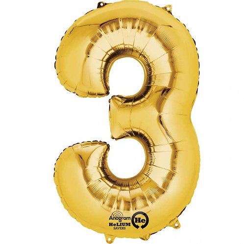 "Gold Number 3 Foil Balloon 34"" (Deflated)"
