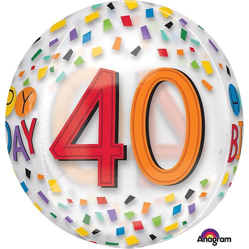 """40th Birthday Rainbow Clear Orbz 16"""" Foil Balloon (Deflated)"""