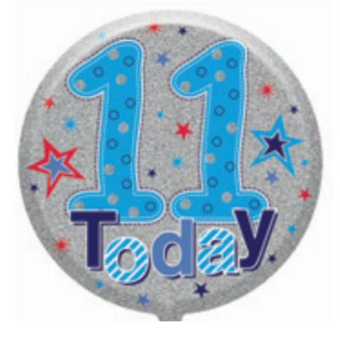 "11th Birthday Male 18"" Foil Balloon (Deflated)"