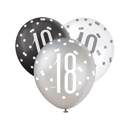 Black, Silver & White Glitz 18th Birthday Latex Balloons 6pk