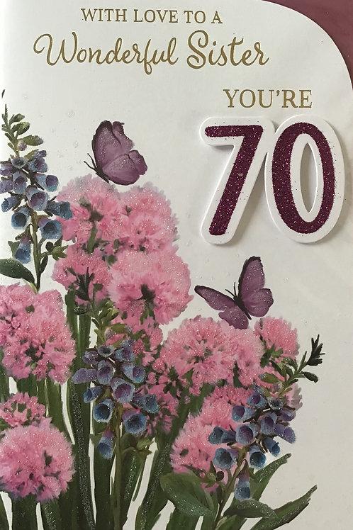 Sister's 70th Birthday Card