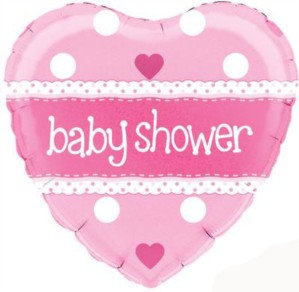 """Heart Pink Baby Shower 18"""" Foil Balloon (Deflated)"""