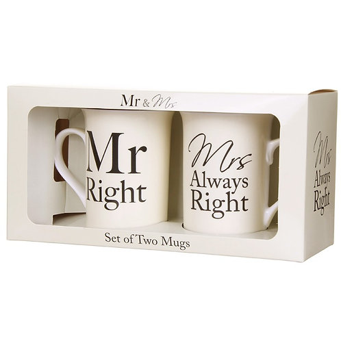 Mr Right and Mrs Always Right Mug Set