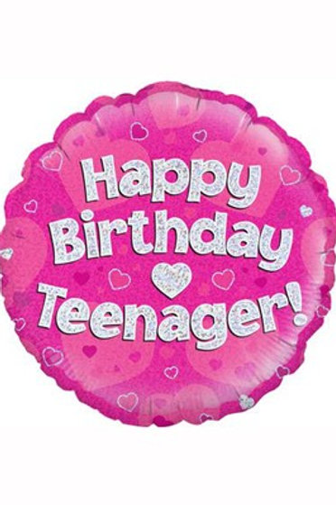 """18"""" Pink Holographic Teenager Foil Balloon (Deflated)"""