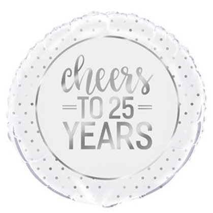 """Cheers To 25 Years 18"""" Foil Balloon (Deflated)"""