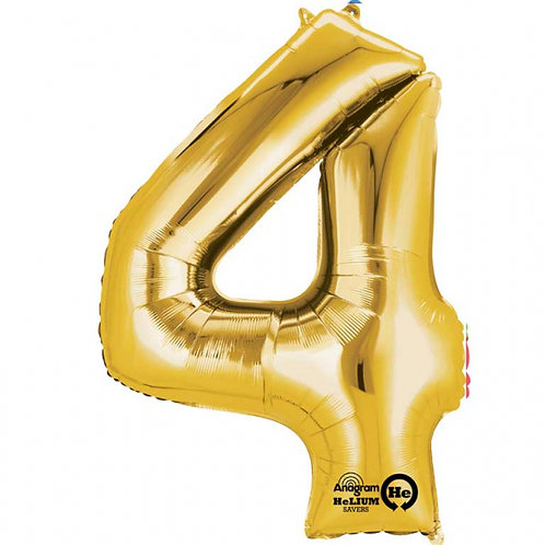 "Gold Number 4 Foil Balloon 34"" (Deflated)"