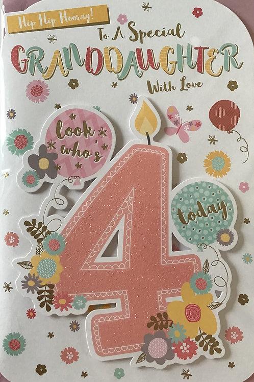 Granddaughter's 4th Birthday Card