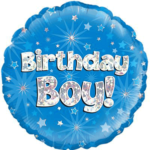 "18"" Blue Holographic Birthday Boy Foil Balloon"