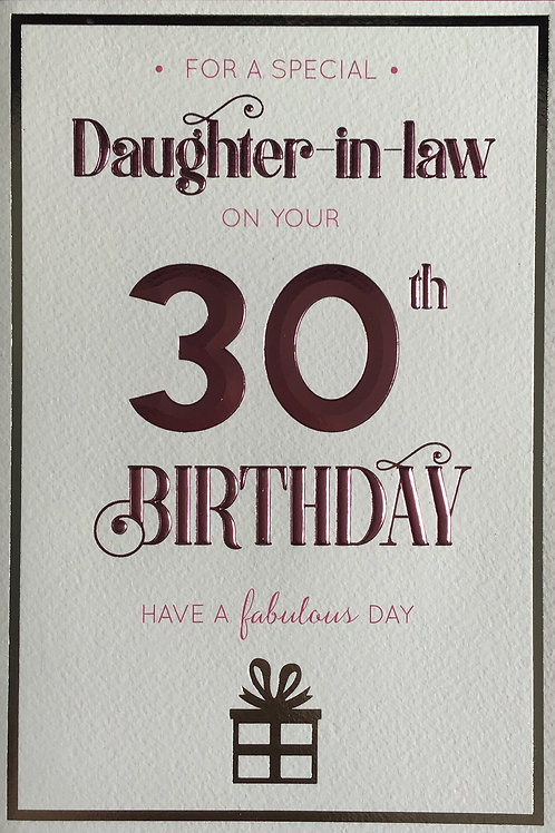Daughter In Law's 30th Birthday Card