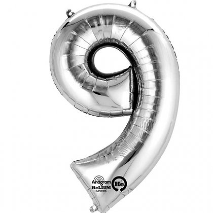 "Silver Number 9 Foil Balloon 34"" (Deflated)"