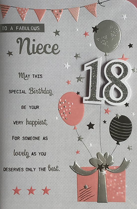 Niece's 18th Birthday Card