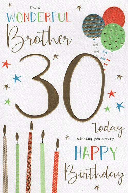Brother 30th Birthday Card