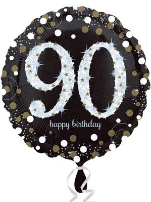 """90th Birthday Black and Gold Celebration 18"""" Foil Balloon (Deflated)"""