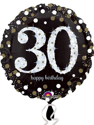 "30th Birthday Black and Gold Celebration 18"" Foil Balloon"