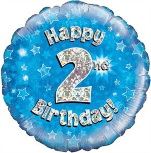 """18"""" Blue Holographic 2nd Birthday Foil Balloon"""