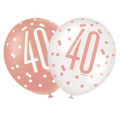 Rose Gold Glitz 40th Birthday Latex Balloons 6pk