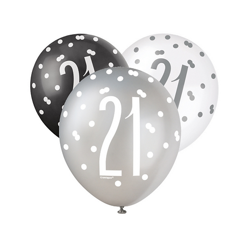 Black, Silver & White Glitz 21st Birthday Latex Balloons 6pk