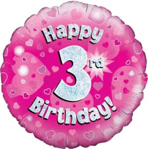 """18"""" Pink Holographic 3rd Birthday Foil Balloon"""
