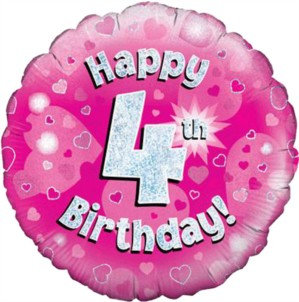 "18"" Pink Holographic 4th Birthday Foil Balloon"