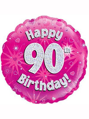 """18"""" Pink Holographic 90th Birthday Foil Balloon (Deflated)"""