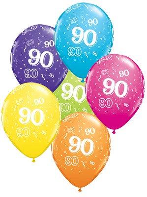 "Age 90 Latex 11"" Balloons 6pk"
