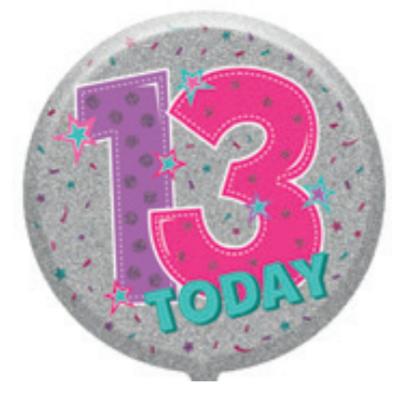 "13th Birthday Female 18"" Foil Balloon (Deflated)"