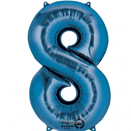 """Blue Number 8 Foil Balloon 34"""" (Deflated)"""