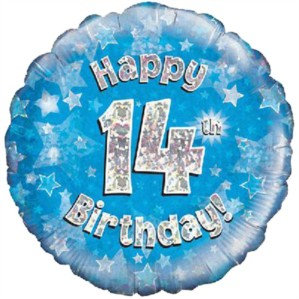 "18"" Blue Holographic 14th Birthday Foil Balloon"
